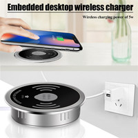 In Desktop Qi Wireless Charger for iPhone XR XS Max USB A Type C 15W Quick Charger 3.0 Embedded Wireless Transmitter for Samsung