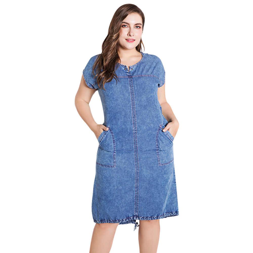 Wipalo летние женские вечерние туфли с Размеры платье из джинсовой ткани для женская одежда с круглым вырезом и карманами элегантное платье 4xl 5xl 6xl 7xl Тонкий вечерние платье Vestido