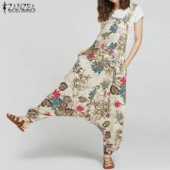 ZANZEA Women's Drop-Crotch Jumpsuits 2021 Summer Rompers Vintage Cotton Linen Print Overalls Femme Pants Plus Size Playsuits 1