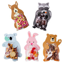 Hot 10pcs/lot Cards Candy Food Bags Baby Cute Animal Bear Rabbit Gift Box Card Cookie Birthday Party Gift Kitchen Home Storage(China)