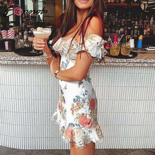 Conmoto Summer 2019 Casual Party Sexy Women Off Shoulder  Ruffle Dress