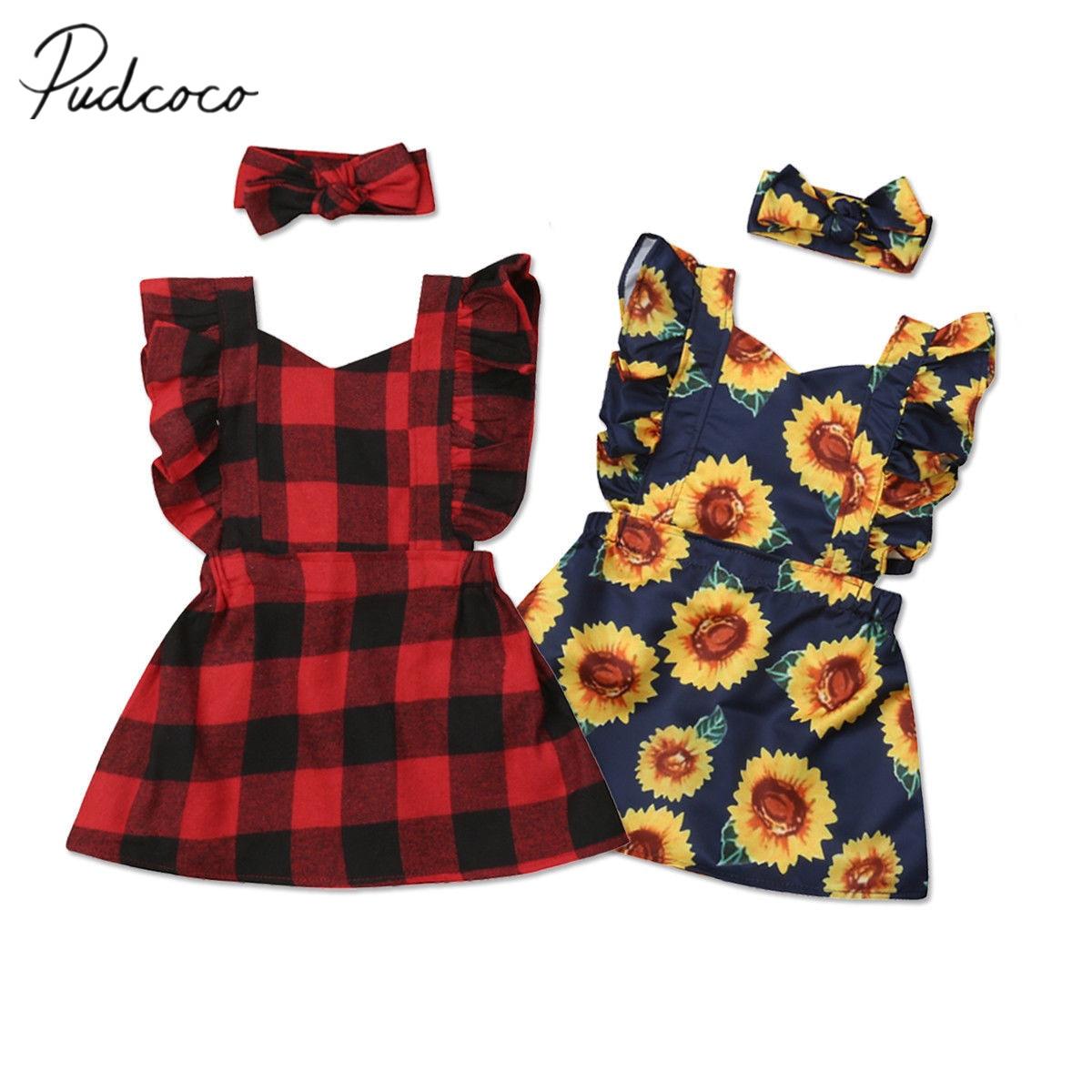c064e8fb8cd06 2018 Brand New Xmas Princess Infant Kids Baby Girl 2Pcs Dress  Sunflowers/Plaid Ruffles Sleeve Backless A-Line Sundress+Headband