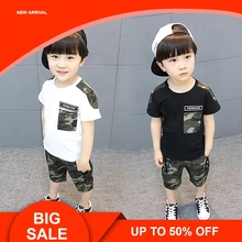 Baby Boys Sets Summer Kid Short Sleeve T Shirt Top and Camouflage Pants Set for Toddler Clothes