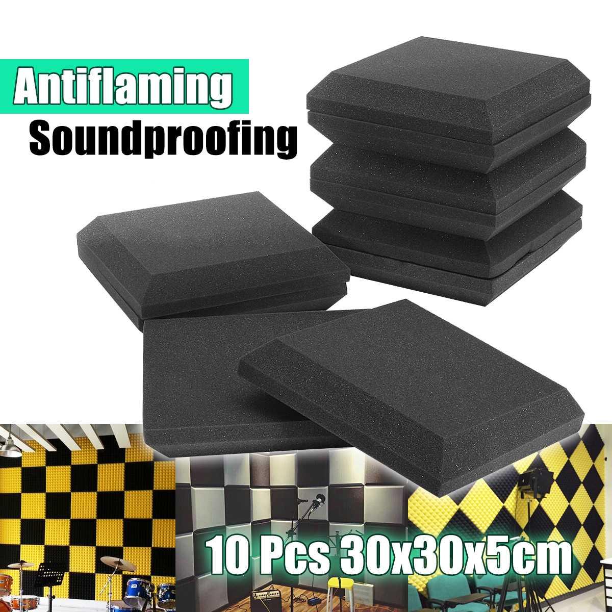 10pcs 300x300x50mm Studio Acoustic Soundproof Foam Sound Absorption Treatment Panel Tile Protective Sponge