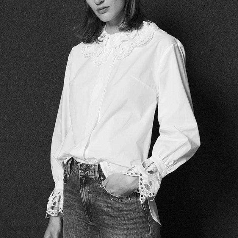 Winter Embroidery Hollow Out Collar Long Sleeve Elegant 2018 Women Runway Designer Lace Shirt White Blouse