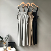 Summer Casual Women Overalls Strap Wide Leg Ankle Pant High Waist Gray Black Khaki Overalls