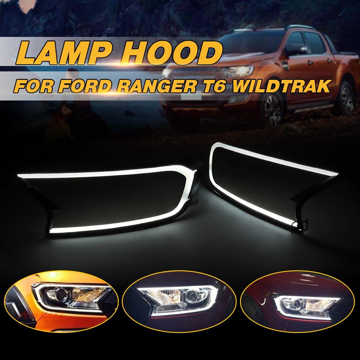 2 pièces Mat Noir led lampe frontale Avant Shell Cover Version Pour FORD RANGER T6 WILDTRAK 15-17 ABS Lampe hottes
