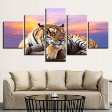 Home Decoration Wall Framework Art Poster Modern 5 Panel Animal Tiger Living Room Canvas HD Print Pictures Modular Painting цена
