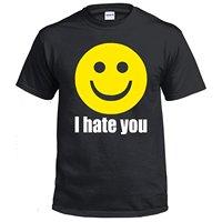 Brand T Shirt Fashion 100% Cotton Men Crew Neck Tees I Hate You Smiley Face Emoji Shirt Funny Tshirts Humor T Shirts