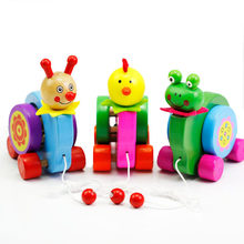 Wooden Dragging Car Animal Frog Chick Shape Kids Baby Puzzle Early Childhood Educational Diecasts Toys Vehicles(China)