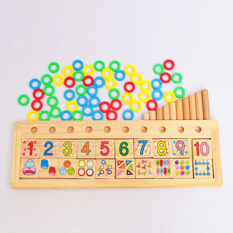 Kids Counting Educational Wood Toy Classic Number Pieces Teaching Maths Aids