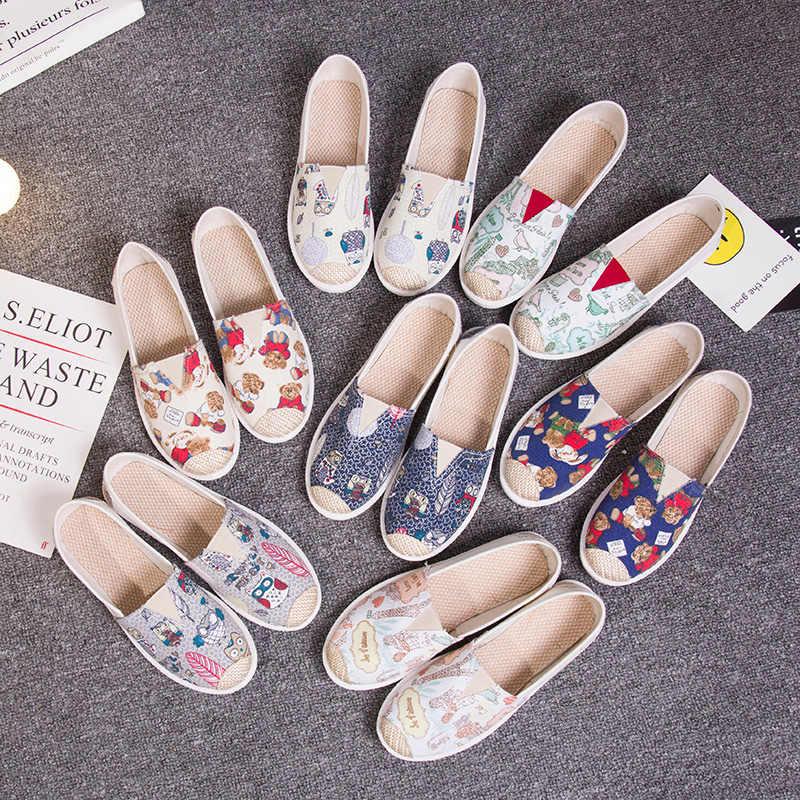 Sonbahar kadın loafer ayakkabılar Espadrille Graffiti konfor düz Platform Creepers ayakkabı bağcıksız ayakkabı kadın ayakkabısı bayan ayakkabıları
