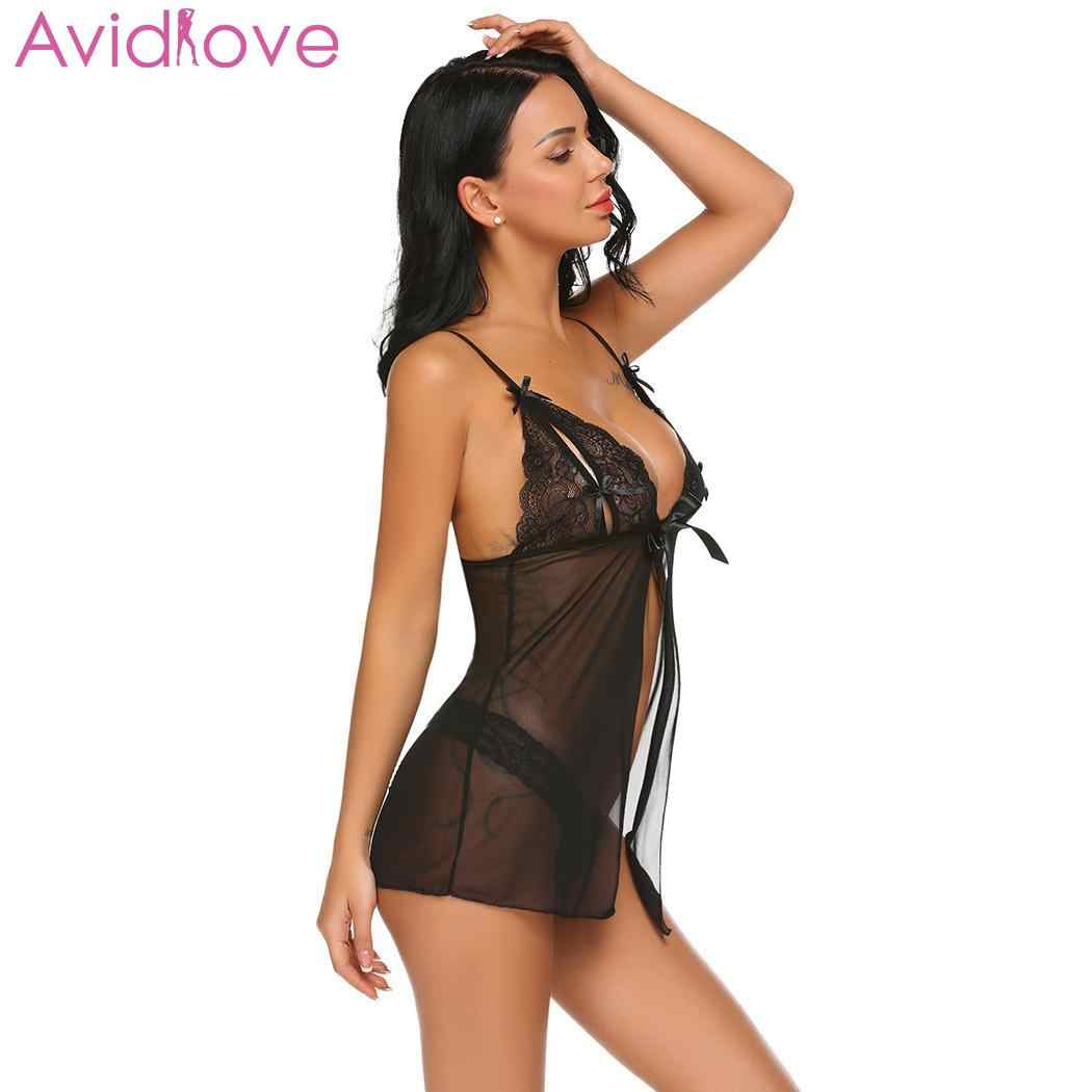 6f78c0625 ... Avidlove Women Sexy Lingerie Lace Open Front Large Size Erotic Teddies  Spaghetti Strap Underwear Nightwear Floral ...