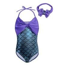 AmzBarley 2pcs Little Mermaid Tails Swimsuit Princess Girls Swimwear with bowknot Bikini Suit Set Swimming Bathing suit