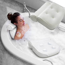 High Quality Bath Tub Spa Pillow Cushion Neck Back Support Foam Comfort Bathtub 6 Suction Cup(China)
