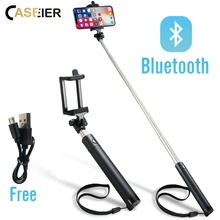 CASEIER Wireless Bluetooth Selfie Stick For iPhone X XS 8 7 6 Mini Earphone Selfie Stick Universal For Samsung Xiaomi Huawei