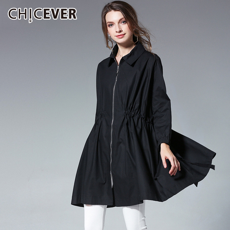 CHICEVER Autumn Trench Coat For Women Windbreaker Long Sleeve High Waist Drawstring Loose Plus Size Coats Female Fashion 2018