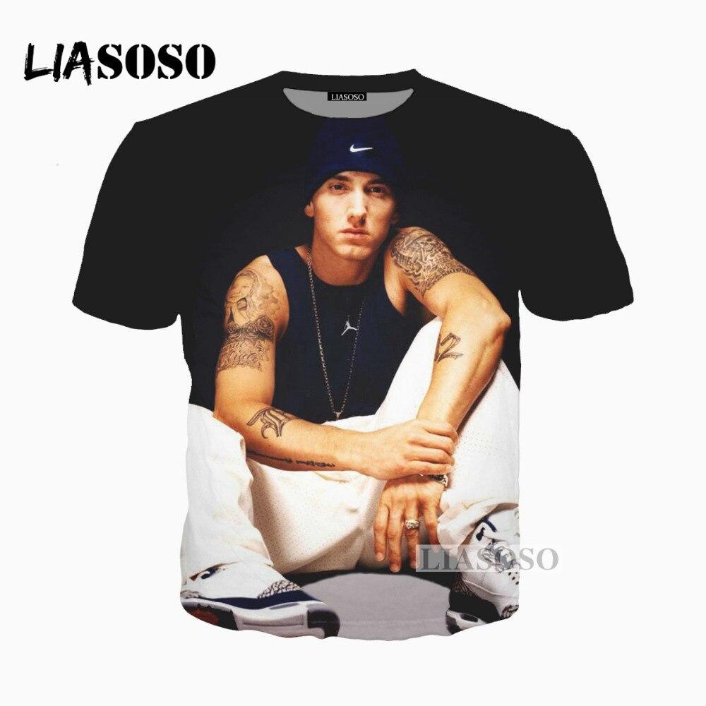 cba978937 2019 nueva impresión 3D mujeres hombres cantante de Rap Eminem camiseta  verano camiseta Hip Hop ...