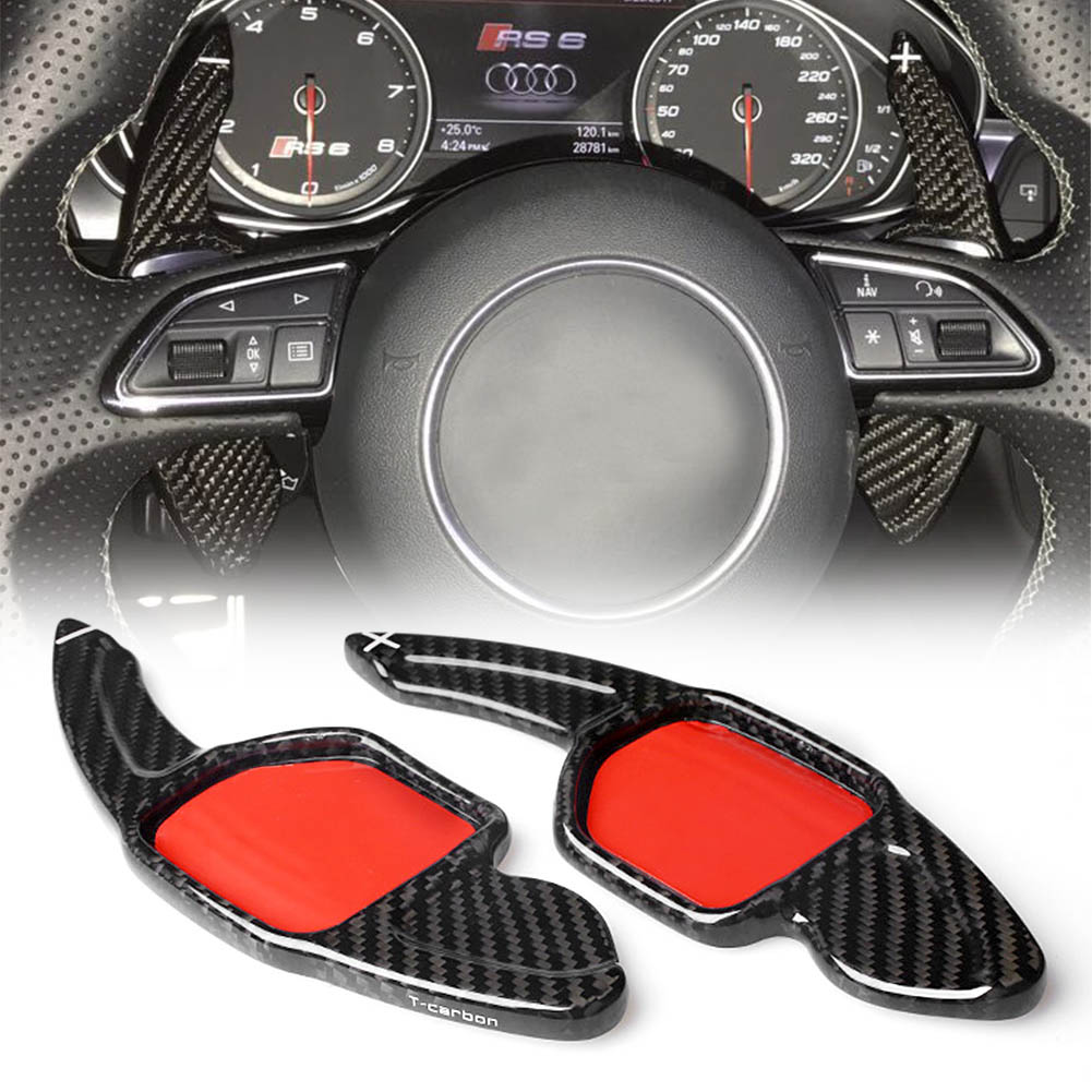 Real Carbon Fiber Steering Wheel Shift Paddle Extension For Audi A3 RS3 A5 RS6 A4L A6L R8 A7 Q3 A8 Q5 S5 Q7 S6 TT S7 TTS S8