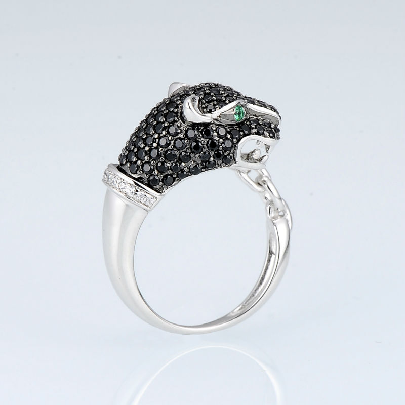 Image 3 - SANTUZZA Silver Leopard Ring For Women 925 Sterling Silver  Innovative animal Natural Black Stones Ring Unique Fashion  Jewelryleopard ringring for women 925fashion rings for women -