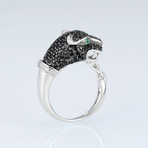 Image 3 - SANTUZZA Silver Ring For Women 925 Sterling Silver Innovative animal Leopard Black Spinels Ring Unique Party Fashion Jewelry