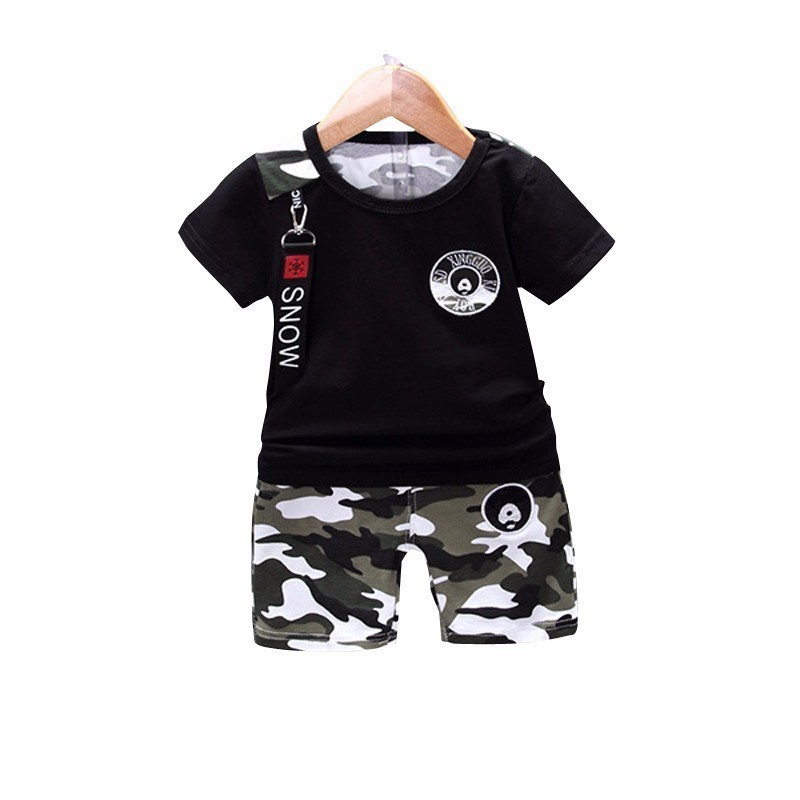 2-8Y Cotton boys girls t shirts camouflage summer tops short sleeve kids tees