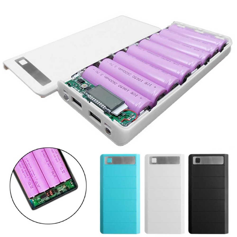 حار بيع 5 V المزدوج USB ل 8*18650 بطارية خزان الطاقة مربع الهاتف المحمول شاحن DIY قذيفة حالة ل iphone6 زائد S6 ل xiaomi