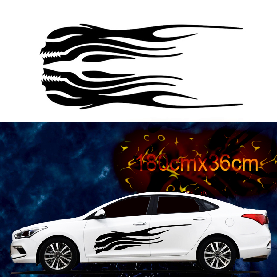 Left and Right Skeleton Flame Car Stickers Decals Side Skirt Vinyl For Racing Body