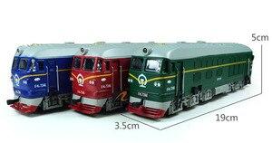 Image 4 - Locomotora diésel de aleación para niños, modelo de locomotora de combustión interna de aleación 1:87, tren óptico acústico, juguetes para niños