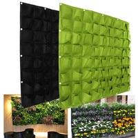 72 Pockets Green/Black Wall Hanging Planting Bags Green Grow Bag Planter Vertical Seedling Plant Garden Flowers Home Supplies