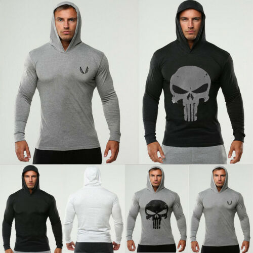 Men Muscle Workout Gym Tank Top Waistcoat Hooded T Shirts Printed Punisher