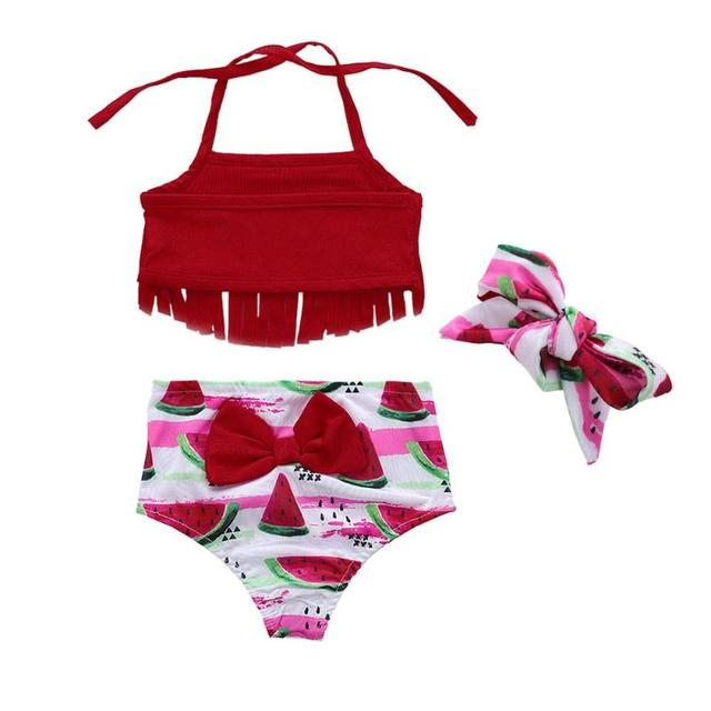 Summer Watermelon Swimwear Kids Girls Baby Tassels Bikini Set Halter Bathing Suit Beachwear Spaghetti Strap Swimsuit
