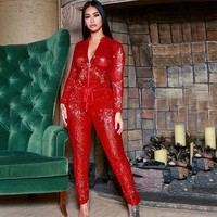 MUXU red sequin playsuits bodysuit rompers womens jumpsuit long sleeve streetwear one piece sexy body femme womens clothing