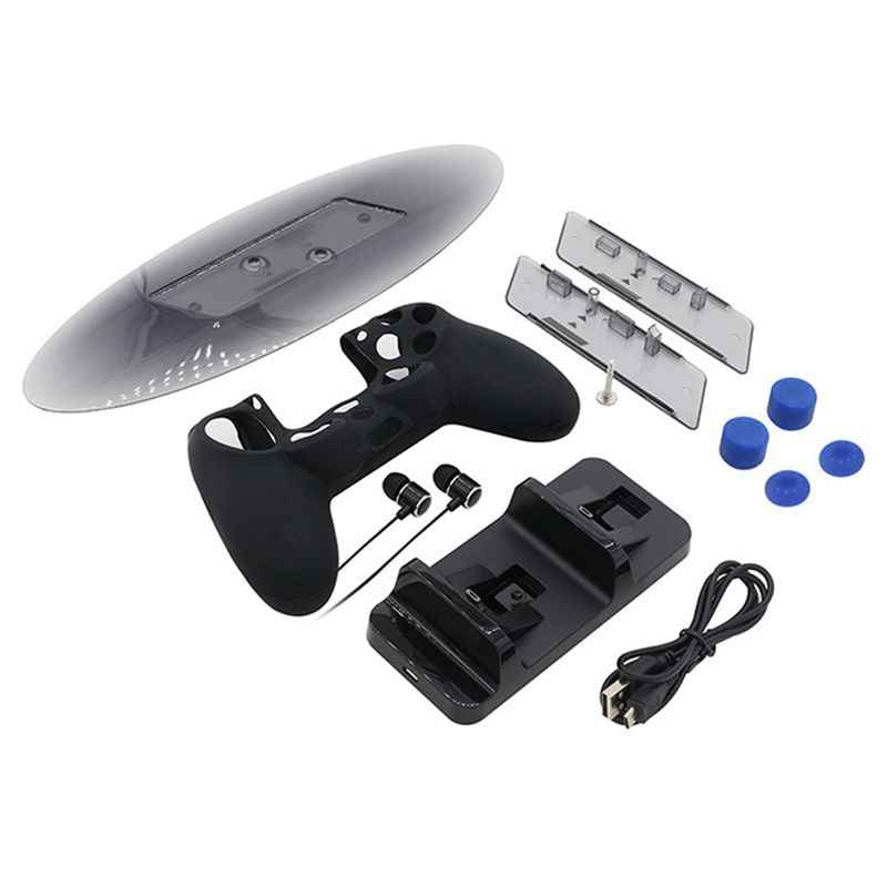 For PS4 Slim Accessories Kit Dual Controller Charging Station+Earphone+Silicone Case+Thumbstick Cover+Vertical Stand for PS4 P