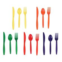 15pcs/Set Portable Plastic Tableware Scoop Fork Knife Party Camping Cutlery Kitchen Accessories Dinnerware Set