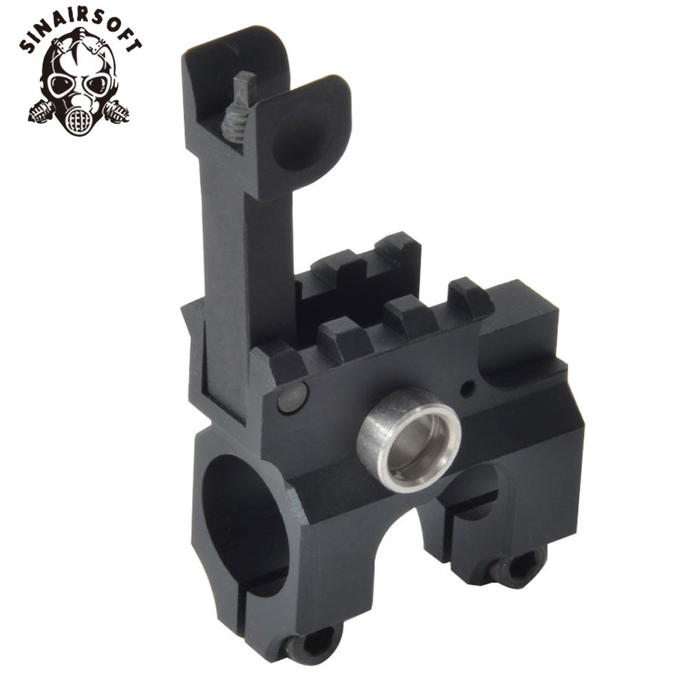 SINAIRSOFT Tactical Clamp-On Gas Block With Folding Front Sight CNC Aluminum Machined Iron For M4/M16 Airsoft AEG Accessories