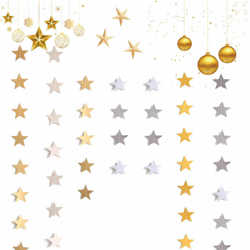 Christmas Tree Decoration Curtain Decoration Garland Wedding Party Supplies Five Star Shape 4M Star Paper Rope