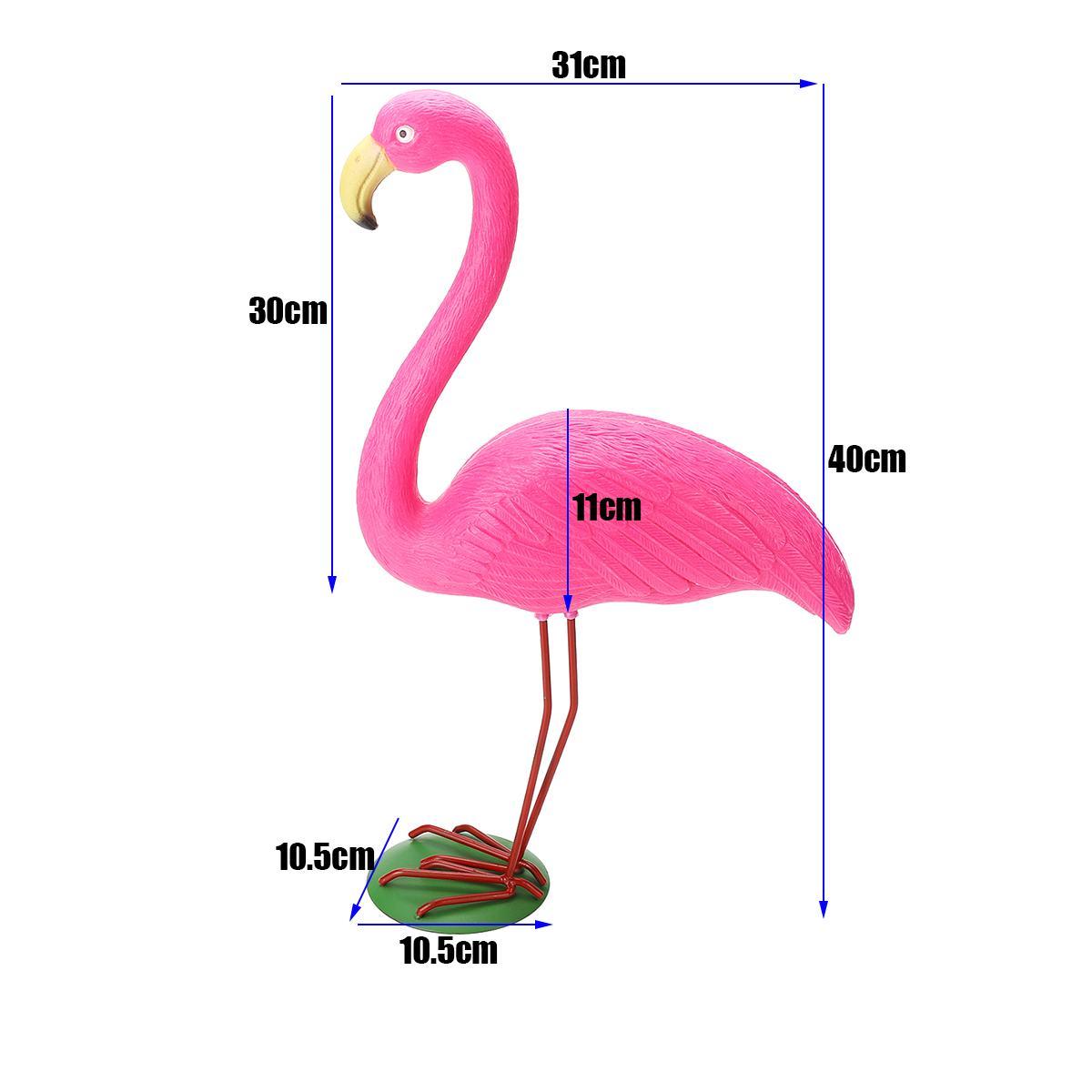 M Size 31x10.5x40cm Pink Flamingo Ornament Set Garden Resin + Metal Outdoor Lawn Light Decoration Ornament Home Garden Yard Room