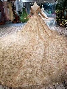 Image 3 - Женское свадебное платье SSYFashion, роскошное золотистое платье с длинными рукавами и вышивкой из блесток, блестящее платье для выпускного вечера