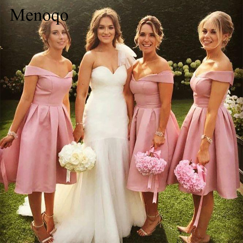 Menoqo 2019 Short   Bridesmaid     Dresses   New Off The Shoulder Keen Length Stain Pleats Formal Wedding Gowns Party   Dress
