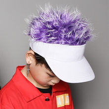 2019 Novelty Fake Flair Hair Sun Visor Hats Boy Girls Toupee Wig Funny Hair Loss Cool Child Gifts Tennis Cap(China)