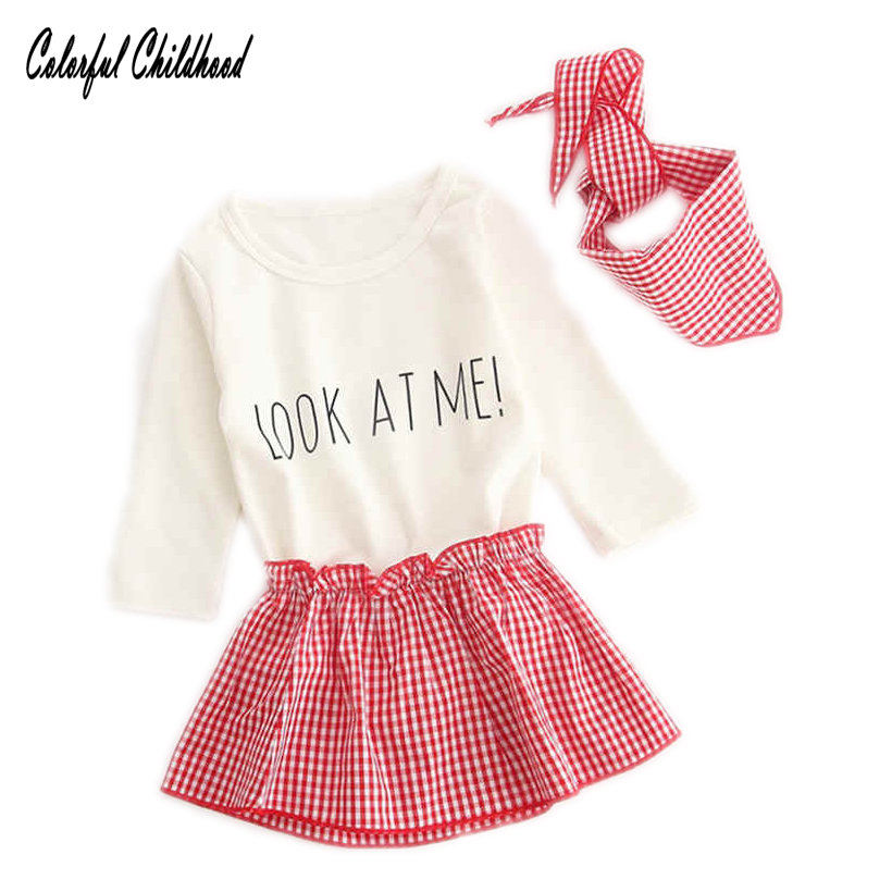 2018 New Kid Girl Clothes Sets Solid Bodysuit+red Tutu Skirt +scarf 3 Pieces Sets Toddler Kid Infant Pure Cotton Jumpsuit Outfit