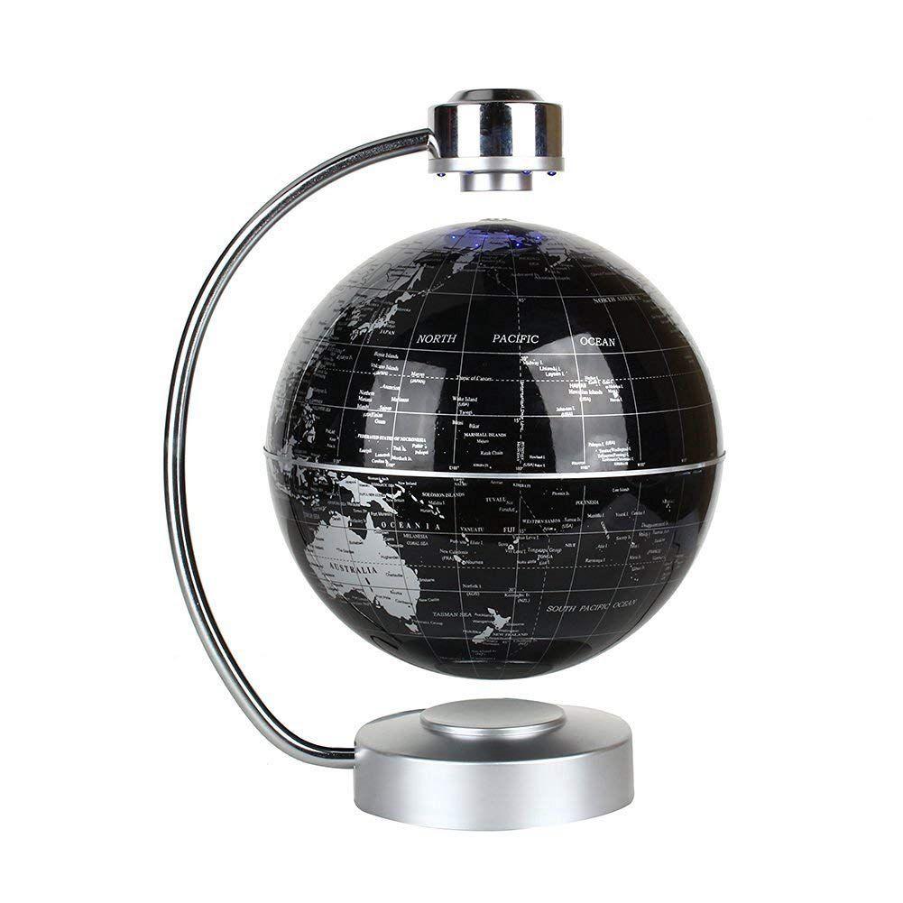Prise EU, globe de carte du monde de flûte de lévitation magnétique, sphère de terre rotative de 8 pouces avec pilier d'affichage de LED-enseignement de géographie