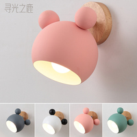 LED wall lamps cartoon E27 Macaron background wall light for children reading bedside fixture bedroom wood novelty