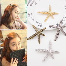 Sale Vintage Sequin Starfish Women Hair Clip Barrettes Duckbill clip Alloy hollow Girls hairpin Accessories