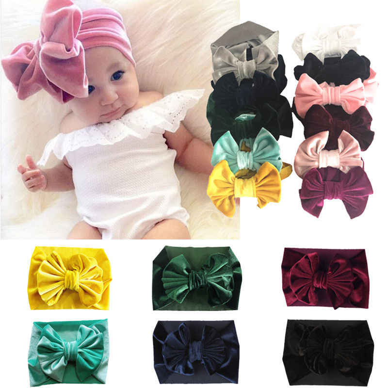 2019 Brand New Toddler Baby Kids Girls Velvet Bow Hairband Turban Solid Big Bowknot Cotton Headband Headwear Gifts Accessories