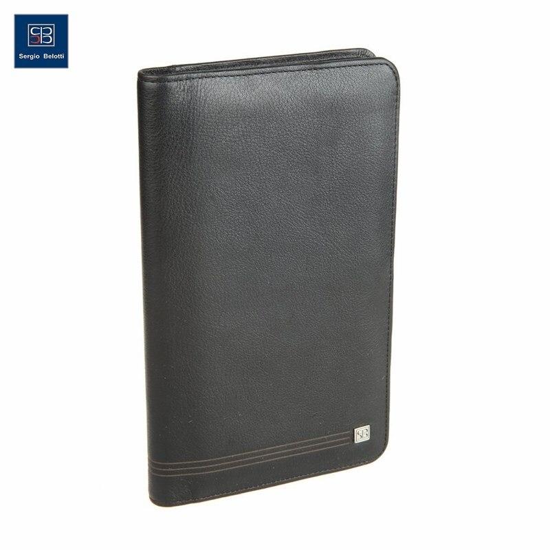 Business Card Holder Sergio Belotti 1308 West black short genuine leather cowhide men wallet business card coin money male purse card holder