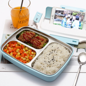 Image 2 - 304 stainless steel lunch box compartment lunch box rectangular adult 1 student male large capacity office worker female lunch