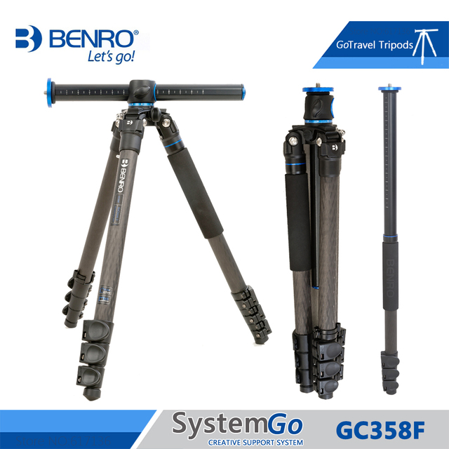 Benro GC358F Tripod Carbon Fiber Camera Monopod Tripods For Camera 4 Section Carrying Bag Max Loading 18kg DHL Free Shipping