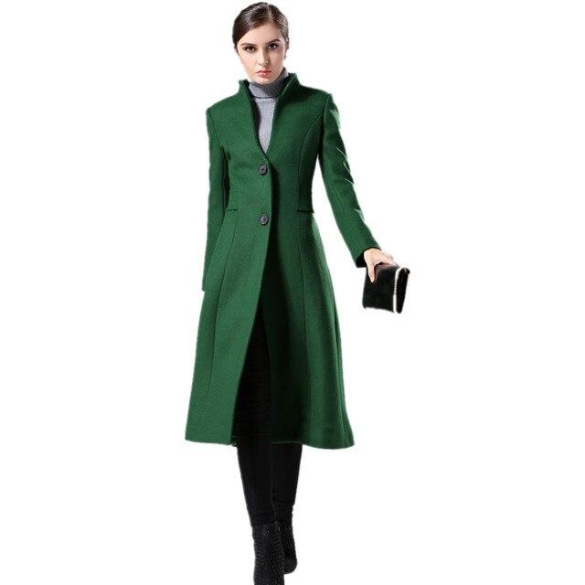 78bf5d94991 Кашемировое пальто женское 2018 новое зимнее пальто женское темно-зеленое  шерстяное пальто с воротником-